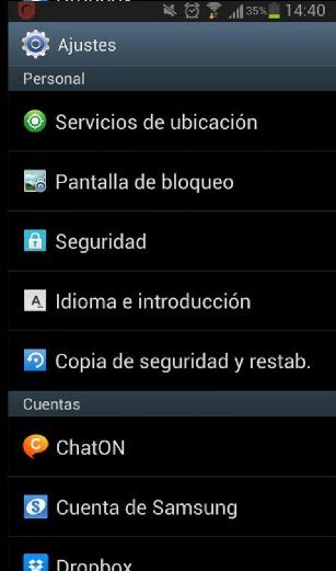 Ajustes de Android